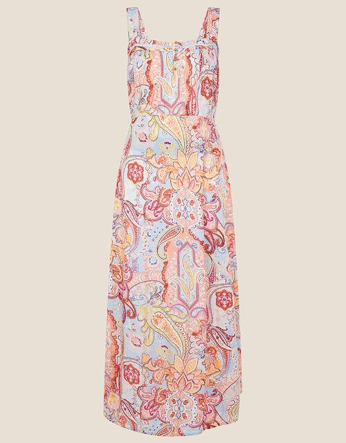 Paisley Print Midi Dress, Blue (BLUE), large