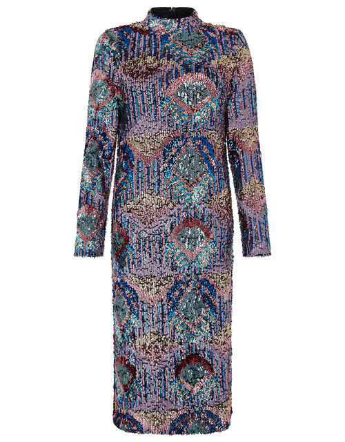 Zoey Sequinned Dress, Blue (BLUE), large
