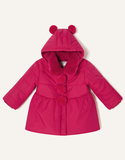 Baby Pom-Pom Padded Coat , Red (RED), large