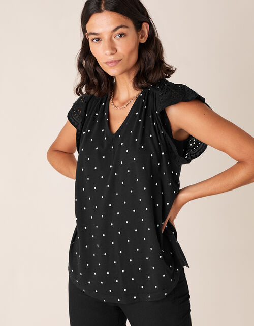 Spot Top with Linen and Organic Cotton, Black (BLACK), large