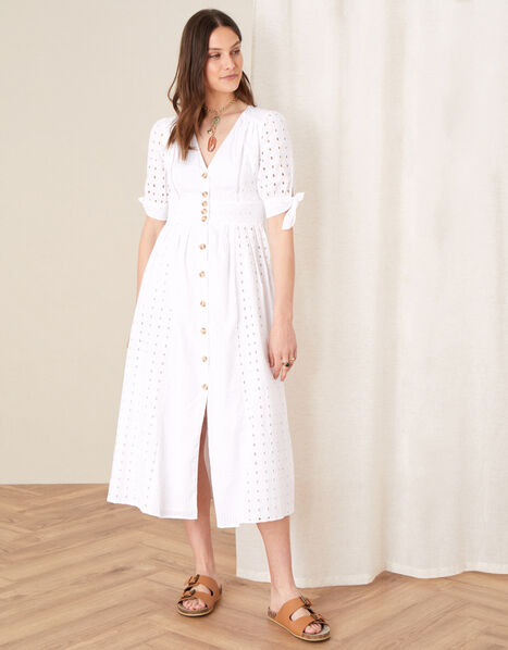 Dolly Schiffli Midi Dress  White, White (WHITE), large