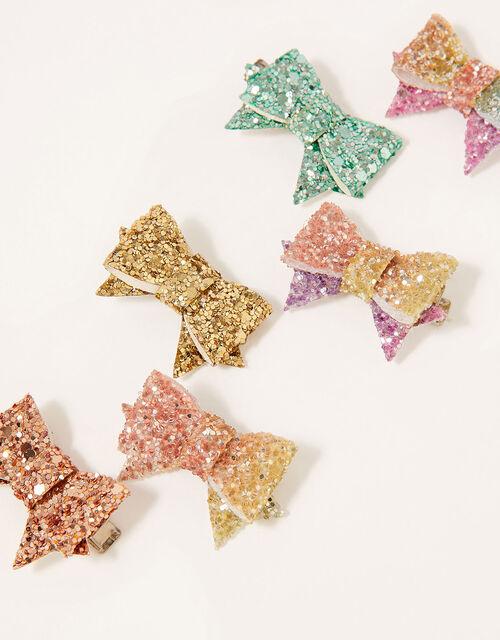 Rainbow Glitter Hair Clip Set, , large