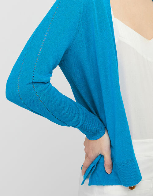 Esmie Lightweight Knit Cardigan in Linen Blend, Blue (BLUE), large