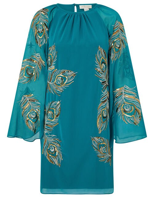 Cara Peacock Embroidered Cape Dress, Teal (TEAL), large