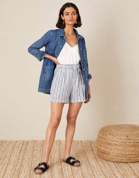 Stripe Print Belted Shorts Blue, Blue (NAVY), large
