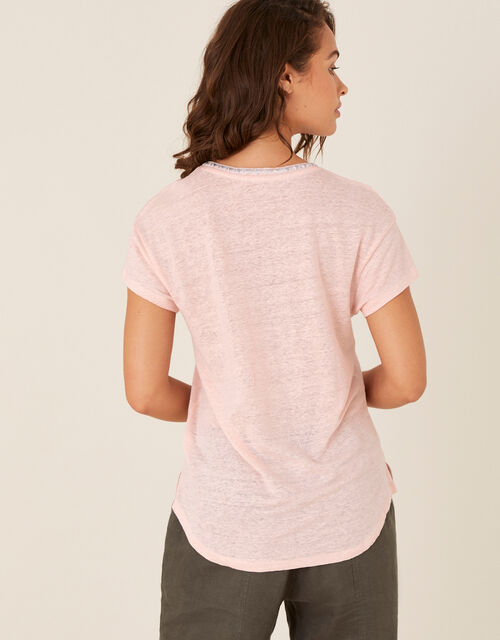 Embroidered Neck T-Shirt in Pure Linen, Pink (BLUSH), large