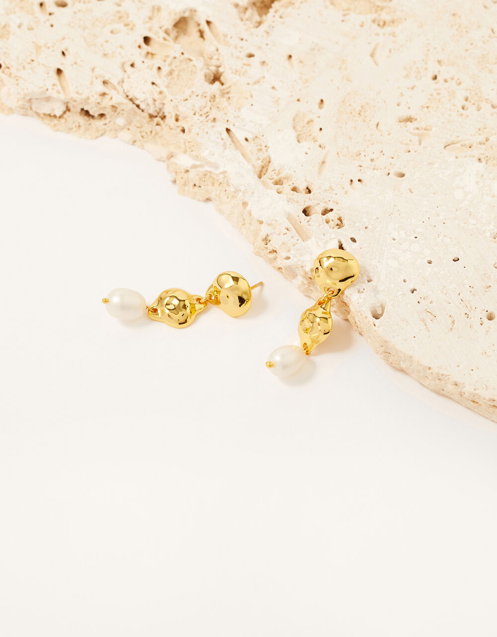 Gold-Plated Pearly Drop Earrings, , large