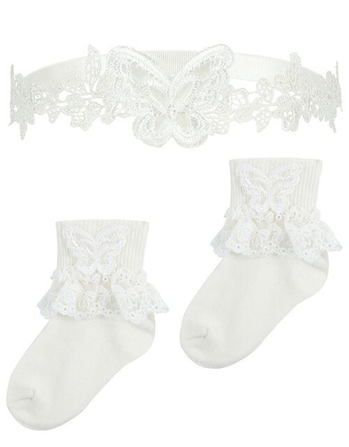 Baby Lacey Butterfly Sock and Bando Set, Ivory (IVORY), large