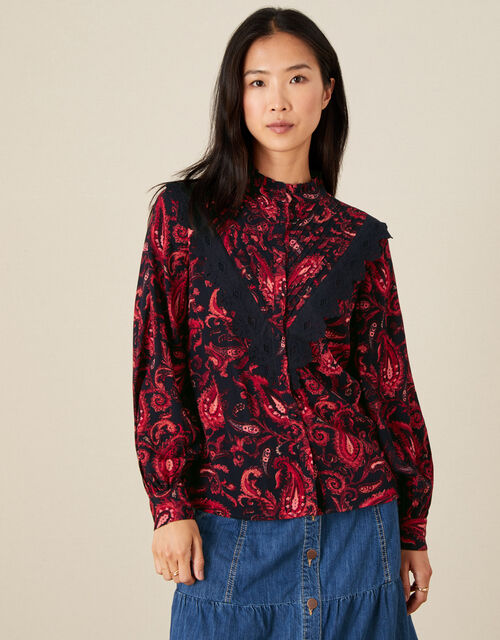Lace Trim Paisley Print Blouse, Red (RED), large