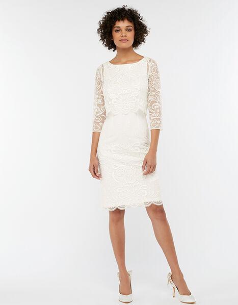 Camilla Embellished 2 Piece Short Wedding Dress Ivory, Ivory (IVORY), large