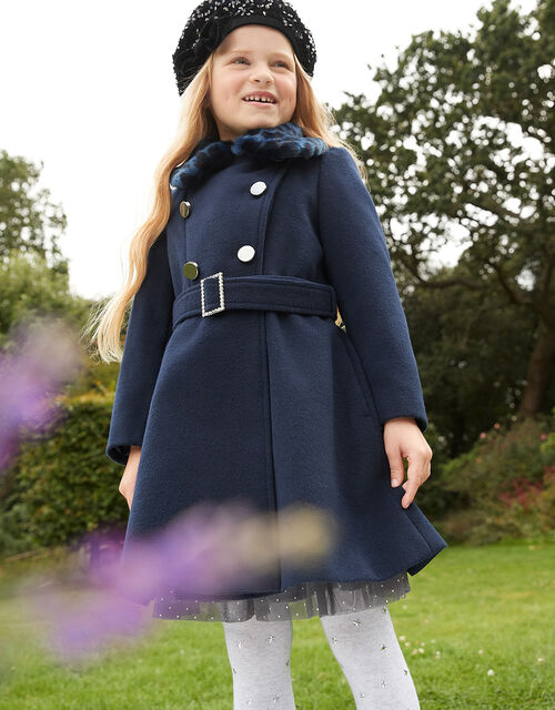 Buckle Belted Coat, Blue (NAVY), large