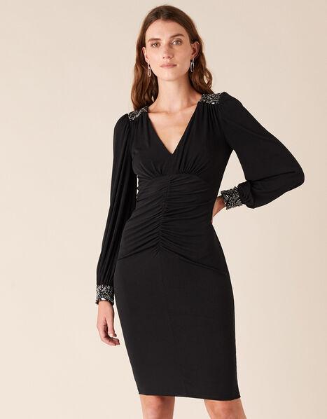 Ivie Embellished Slinky Jersey Dress Black, Black (BLACK), large