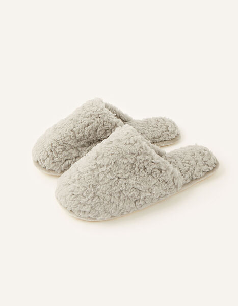 Fluffy Mule Slippers Grey, Grey (GREY), large