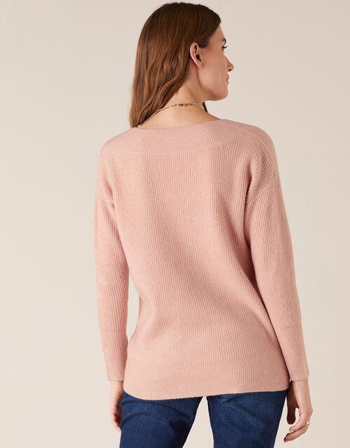 Georgina V-Neck Rib Knit Jumper, Pink (PINK), large
