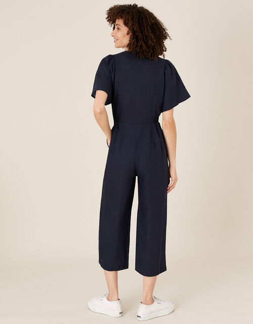 Poppy Cropped Jumpsuit in Pure Linen, Blue (NAVY), large