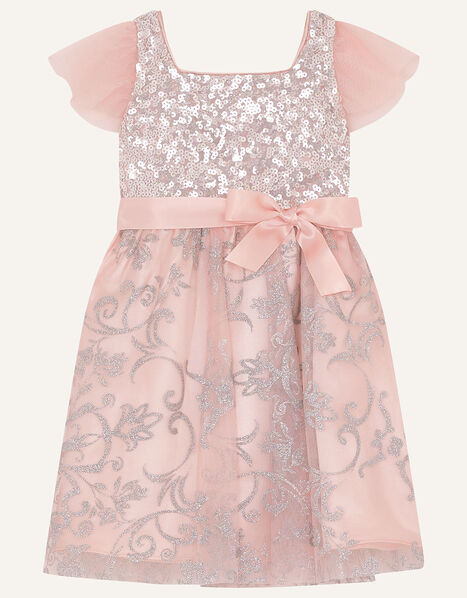 Baby Sequin Foil Print Dress Pink, Pink (DUSKY PINK), large