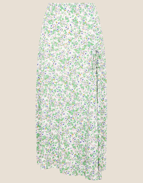 Ditsy Floral Ruched Skirt, Ivory (IVORY), large