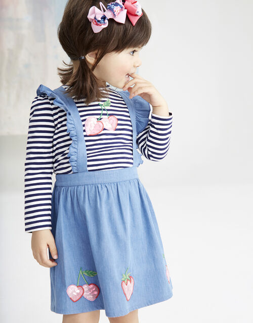 Baby Cherry Pinafore Dress with T-shirt, Blue (BLUE), large