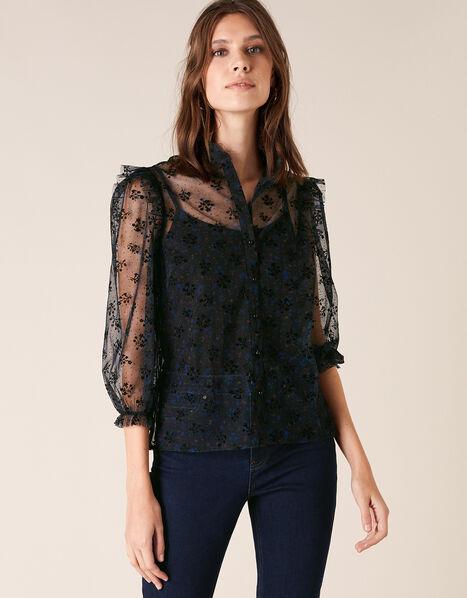 Floral Print Lace Blouse Black, Black (BLACK), large