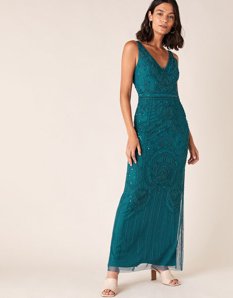 Marisa Embellished Maxi Dress in Recycled Fabric Teal, Teal (TEAL), large