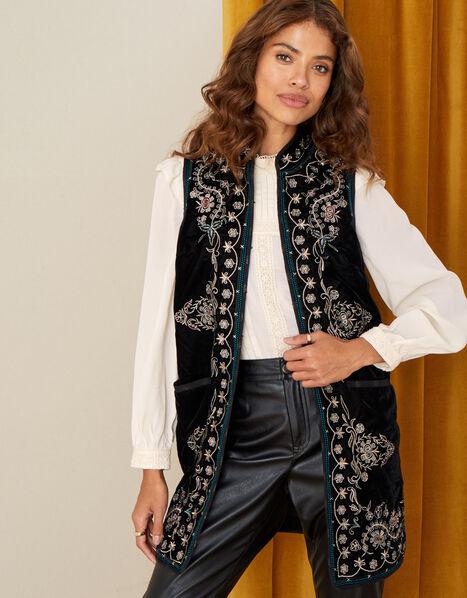 Embroidered Velvet Waistcoat Black, Black (BLACK), large