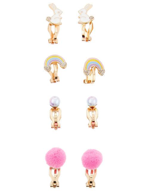 Rainbow Bunny Clip-On Earring Set, , large