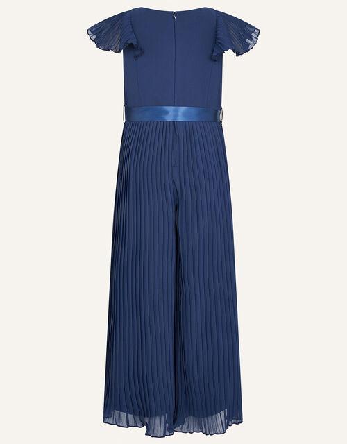 Sunray Corsage Pleated Jumpsuit, Blue (NAVY), large