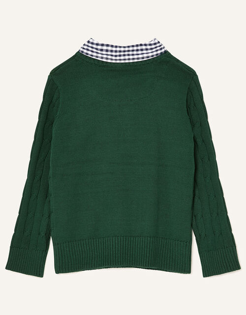Mock Collar Cable Knit Jumper, Green (GREEN), large