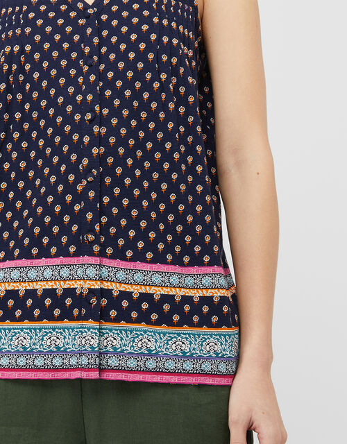 Ashleigh Border Print Top with Linen and Organic Cotton, Blue (NAVY), large