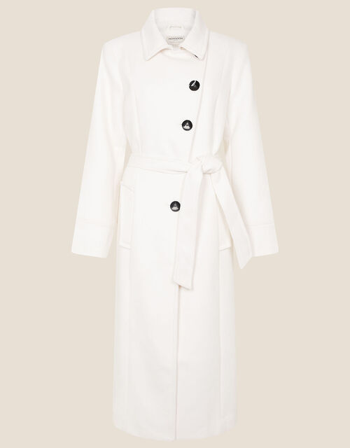 Willow Asymmetric Button Coat, White (WHITE), large