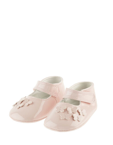 Baby Patent Butterfly Booties Pink, Pink (PALE PINK), large