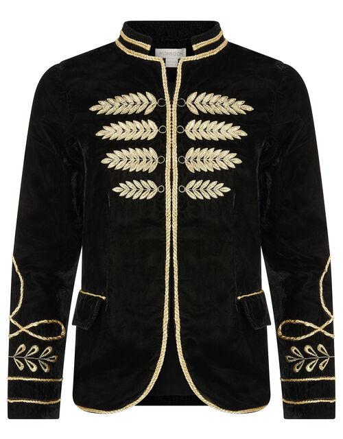 Velvet Military Jacket, Black (BLACK), large