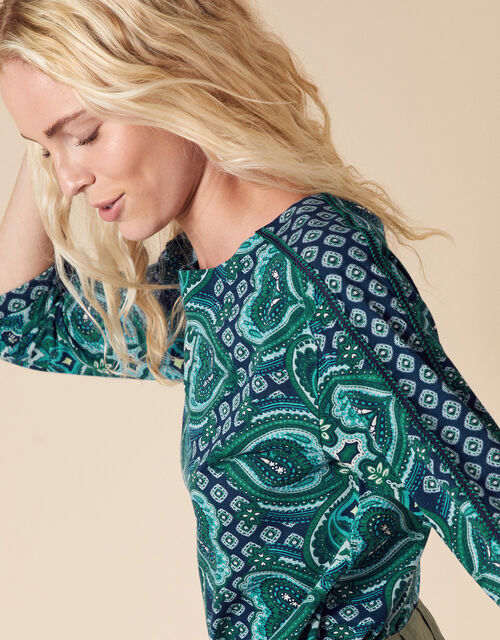 Heart Print Top with Organic Cotton, Blue (BLUE), large