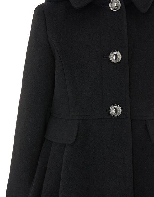 Skirted Coat with Hood, Black (BLACK), large