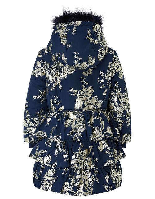 Foil Flower Padded Coat, Blue (NAVY), large
