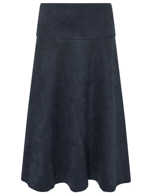 Suedette Midi Skirt with Recycled Fabric, Blue (NAVY), large