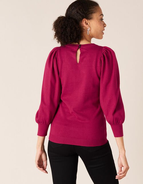 Crystal Neckline Jumper with Sustainable Viscose, Red (BERRY), large