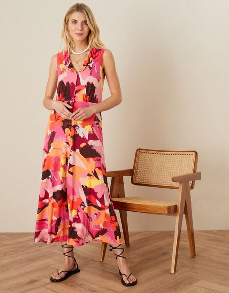 Abstract Floral Jersey Maxi Dress Orange, Orange (ORANGE), large