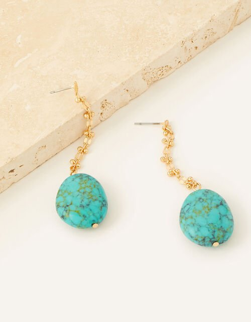 Turquoise Stone Drop Earrings, , large