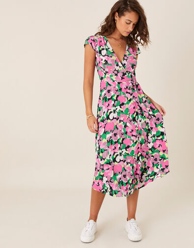 Floral Wrap Dress in Sustainable Viscose Pink, Pink (PINK), large
