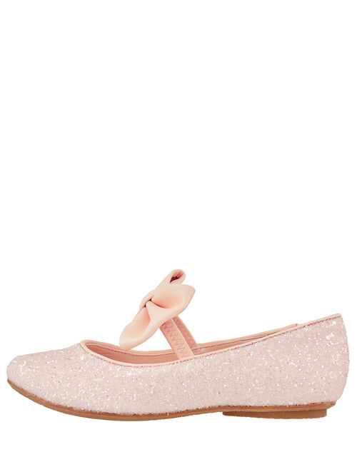 Estella Glitter Bow Ballerina Shoes, Pink (PALE PINK), large