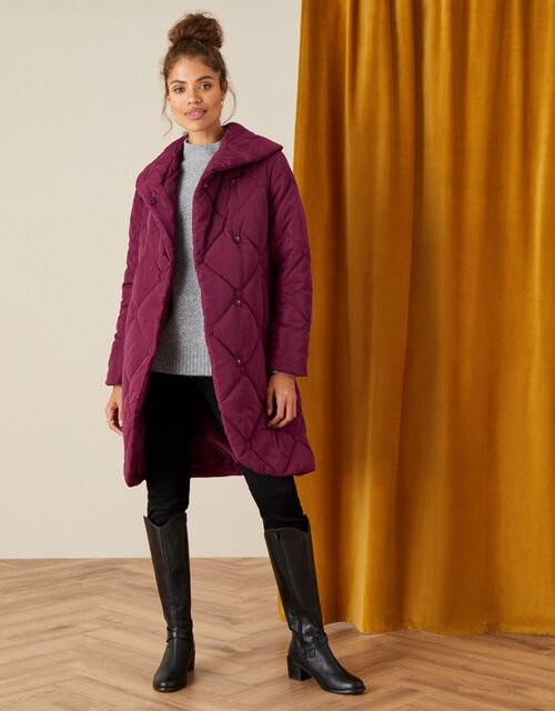 Terry Diamond Padded Coat, Red (BERRY), large