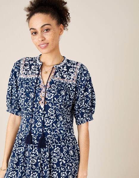 Batik Print Dress with Organic Cotton Blue, Blue (BLUE), large