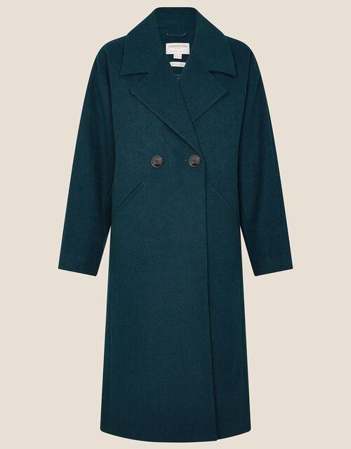 Lilian Longline Coat in Wool Blend, Teal (TEAL), large