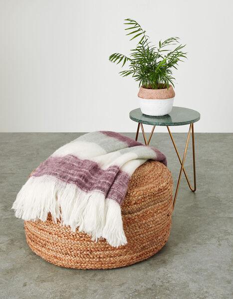 Colour Block Soft Blanket Throw, , large