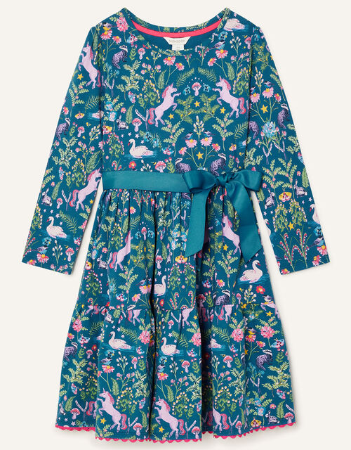 Fantastical Printed Jersey Dress, Blue (NAVY), large