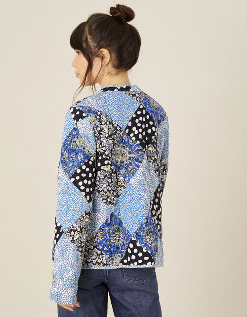 Patchwork Print Quilted Jacket, Blue (BLUE), large