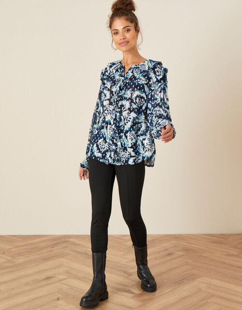 Briony Shimmer Butterfly Blouse, Blue (NAVY), large