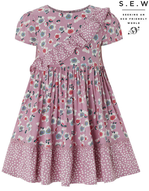 Baby Eloise Printed Dress in Sustainable Viscose, Pink (PINK), large