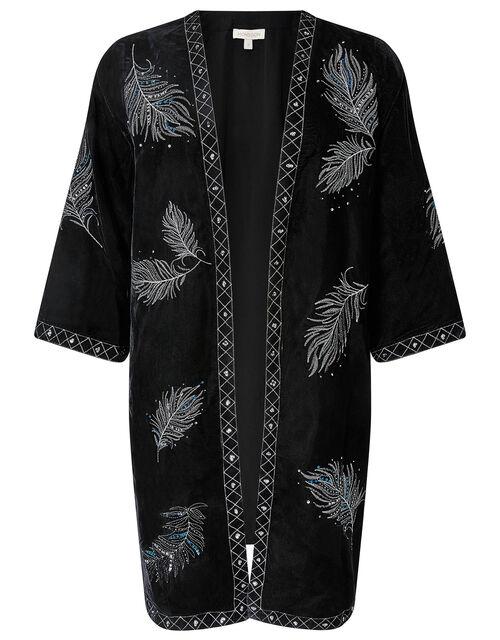 Violetta Feather Embroidered Velvet Jacket, Black (BLACK), large